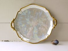 Limoges W.G. Guerin Double-Handled Serving Dish. Cake Plate, Platter, Charger. Heavy Gold Gilt Trim. 1900-1932. Rare.