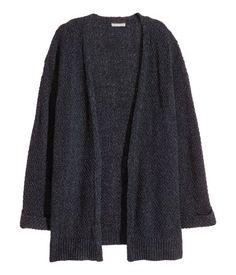 Cardigan aus Baumwollmischung | Schwarzmeliert | Damen | H&M DE