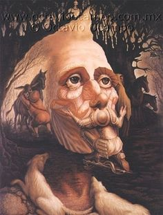 Illusion art by Octavio Ocampo Optical Illusion Paintings, Art Optical, Optical Illusions, Illusion Kunst, Illusion Art, Fantasy Kunst, Fantasy Art, Man Of La Mancha, Dom Quixote
