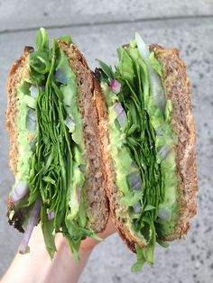 Office LUNCH. perfect on ezekiel bread. spinach, cucumber, red onion, avocado mashed with some lime juice and garlic.