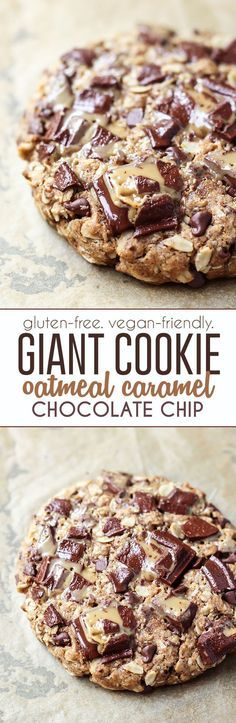 a gluten-free vegan-friendly GIANT cookie! Using rolled oats gluten-free flour flaxseed some nut butter coconut sugar and coconut oil to satisfy your (healthier) sweet-tooth. Use your favorite vegan chocolate :-) Real Food Recipes, Baking Recipes, Cookie Recipes, Dessert Recipes, Baking Desserts, Vegan Treats, Healthy Desserts, Delicious Desserts, Healthy Cookies