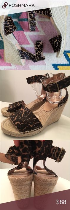"""Jcrew leopard pony hair espadrilles SIZE & FIT 3 3/8"""" heel. Overall Fits like 5.5 but marked size 5. Comes with dust bag. PRODUCT DETAILS Pretty espadrilles in shiny calf hair that are practically begging you to finally book that trip to Greece. We gave this pair a chunky strap at the ankle, so they won't go flying off your feet when you're scaling the steps to the Acropolis.  Calf hair upper. Jute, rubber sole. Made in Spain. Item C5501. J. Crew Shoes Espadrilles"""