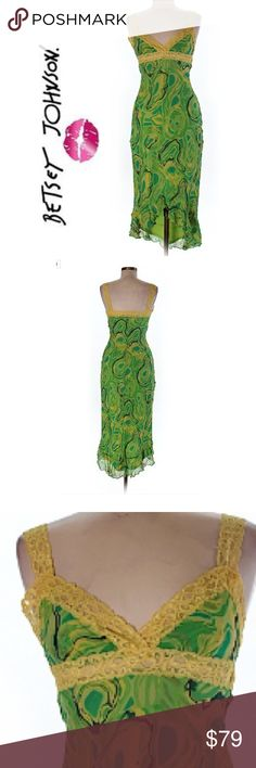 """Betsey Johnson Green Yellow Swirl Asymmetric Dress Long mermaid style dress sleeveless with lace detail and bottom asymmetrical ruffle layered cut. Green yellow marble swirl design. Vintage hard to find. Punk gothic boho bohemian rockabilly pinup. Maxi dress. Sz med. 24"""" bust 40"""" length. 100% polyester as sheer layers. Would fit sizes 6-8 best and of course smaller. Excellent condition.  Save the most with bundles. I offer 25% off any bundle with 2 or more items. No trades. I accept serious…"""