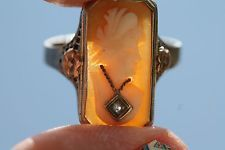 Antique 10k White Gold Filigree Hand Carved Shell Diamond Habillle Cameo Ring
