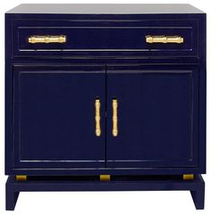 Tracey Hollywood Regency Navy Blue Lacquer Nightstand Cabinet | Kathy Kuo Home
