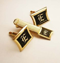 Vintage Old English E Cufflinks Tie Clip Set  by NeatstuffAntiques, $55.00