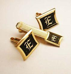 Vintage Old English E Cufflinks Tie Clip Set  by NeatstuffAntiques, $55.00