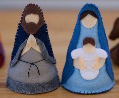 Pesebre hecho con figuras de fieltro, ingenioso y diferente. #DecoracionNavidad