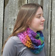 I LOVE the yarn used in this. Pink Purple, Blue, Fairy Land, Wool Yarn, Cowl, Scarves, Stripes, This Or That Questions, Knitting