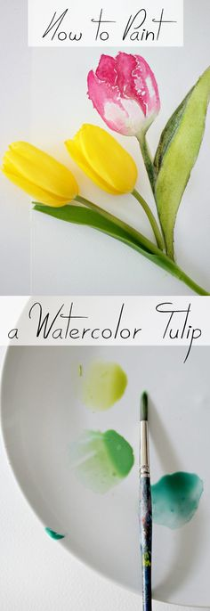 Watercolor lends itself perfectly to painting flowers, because flowers are colorful and soft. Learn how to beautifully recreate tulips using watercolors in this DIY tutorial Watercolor Tips, Watercolour Tutorials, Tulip Watercolor, Watercolor Techniques, Watercolor Cards, Watercolour Painting, Painting Flowers, Watercolors, How To Paint Flowers