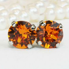 Go orange!! Tangerine Swarovski Studs! Available as drop earrings as well! 🍊🍂🍁