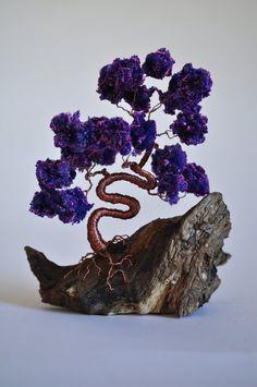 Purple Wire Bonsai Tree/ Miniature / Wire Tree / di ForestofEva