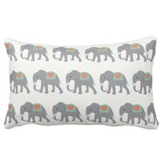 Pretty Elephants Coral Peach Mint Green Striped Throw Pillows SOLD on Zazzle