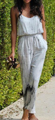 paint splatter jumpsuit for resort vacay | pursuitofshoes.com