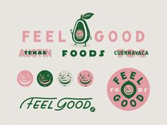 Feel Good Foods brandidentity lettering illustration smile texas austin foods avocado good kitchen f Food Branding, Logo Food, Corporate Branding, Food Brand Logos, Web Design, Layout Design, Tolle Logos, 2 Logo, Feel Good Food