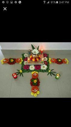Pooja decroation Rangoli Designs Flower, Rangoli Patterns, Rangoli Designs Diwali, Flower Rangoli, Beautiful Rangoli Designs, Flower Designs, Diwali Decorations At Home, Festival Decorations, Flower Decorations