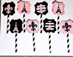 Paris Cupcake Toppers, set of 8 - Parisian Bridal Shower - Parisian Baby Shower - Paris Party Decor - Paris Decor - Paris Wedding - Paris by KDODesigns on Etsy