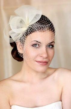 white french veil veiling fascinator wedding bridal hair hat comb clip race