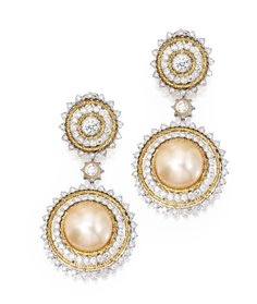 Lot 399 - Pair of 18 Karat Two-Color Gold, Cultured Pearl and Diamond Pendant-Earrings, Buccellati