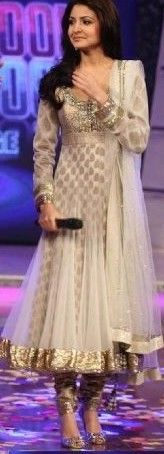 White anarkali suit with simmer border Indian Wedding Outfits, Pakistani Outfits, Bridal Outfits, Indian Outfits, India Fashion, Ethnic Fashion, Asian Fashion, Indian Attire, Indian Wear