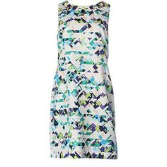 Vince Camuto Womens Tribal Print Jeweled Party Dress