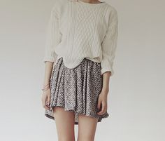 Sweater and skirt.