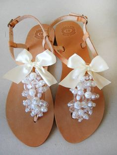 Bridal Leather Sandals decorated with off White beads by MyMarmade, €43.00