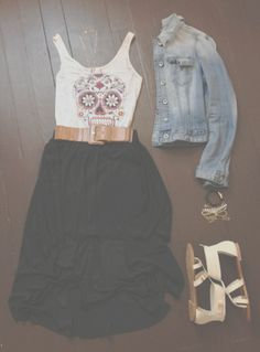 Sugar skull tank and belted maxi skirt