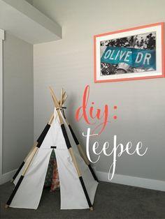 DIY teepee, step by step instructions on how to make a play teepee. #diy #teepee Mini, Mama, & Co: Project: DIY teepee