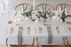 gray & gold tablescape