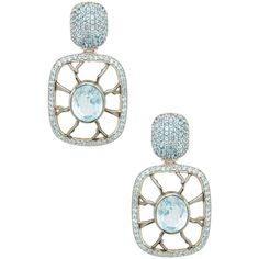 Jennifer Miller Women's Pave Blue Topaz Drop Square Earrings ($975) ❤ liked on Polyvore featuring jewelry, earrings, no color, long drop earrings, jennifer miller earrings, pave earrings, jennifer miller and long earrings