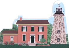 """Handcrafted 3/4"""" thick wooden keepsake of the Charlotte-Genesee Lighthouse in Rochester, NY. Made in the US by The Cat's Meow Village 