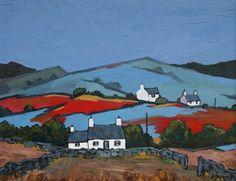 David BARNES artist, paintings and art at the Red Rag British Art Gallery Impressionist Landscape, Abstract Landscape, Landscape Paintings, Irish Landscape, Cottage Art, Naive Art, Collage, Creative Art, Folk Art