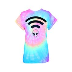 Pastel tie dyed screen printed Alien Wifi t-shirt. Each shirt is done in a rainbow pastel swirl similar the picture, but will differ as each shirt