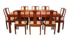 Chinese Rosewood 'Ming' Style Dining Set, Table & Eight Chairs on Chairish.com Please feel free to contact us about this Rosewood Dining Set for Eight.  Thank you. #Diningset #Diningchairs #Chairs #DiningTable #Table #rosewood #wood #Asian #Oriental #Chinese #Ming #Eight #East2West #Cushions