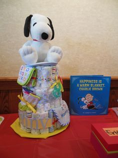 Snoopy Diaper cake I made for my sister's baby shower