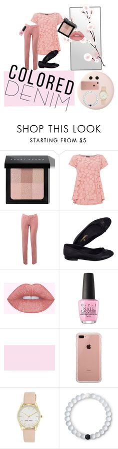 """""""Colored Denim"""" by livvydubs ❤ liked on Polyvore featuring Bobbi Brown Cosmetics, Phase Eight, Fabrizio Gianni, Chanel, OPI, Belkin, Nine West, Lokai and Humble Chic"""
