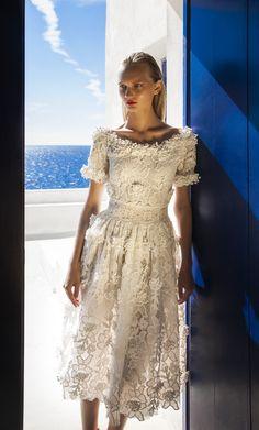 SS 1720 Short Sleeve,  Blossom Lace Portrait Neckline Dress, White