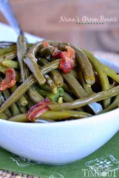 Nana's Famous Green Beans by momontimeout #Green_Beans #Bacon #Onion