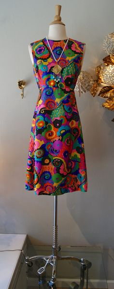 Vintage 1960's Dress // 1960s Psychedelic Silk by xtabayvintage, $125.00
