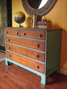 Different take on updating an old dresser - leave drawer faces original and paint the rest