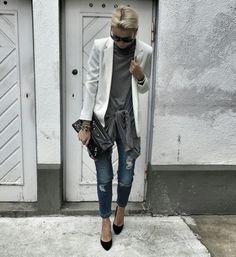 White blazer denim Balenciaga clutch  www.vavawoom.com/annamavridis