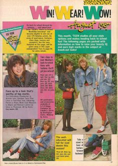 Teen Magazine August 1987 Fashion Advertorial Clothes, Hair, & Makeup Source by clothes ideas 80s Ads, Retro Advertising, Fashion Advertising, 1987 Fashion, 80s And 90s Fashion, 80s Aesthetic, Aesthetic Clothes, Vintage Outfits, Vintage Fashion