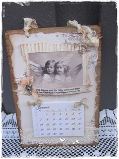 "Calendar created by LLC DT Member Elin Torbergsen, using papers from Pion Design's ""For Mother"" collection and an Inkido image."