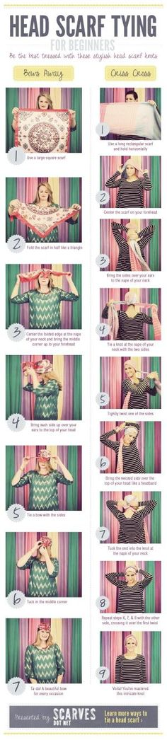 Head Scarf Tying for Beginners | Scarves.net This will be useful when I shave my head for cancer! by alisa
