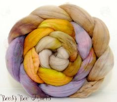 POLWARTH combed top, wool roving, spinning fiber, hand painted roving - 4.2 oz - CHAPARRAL. $15.75, via Etsy.