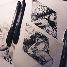 preparing this week's designs #tattooflash #tattoodesign #illustration #drawing…
