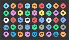 125+ Best Free Social Media Icons Buttons   Designrazzi  #social #icons #circle #socialicons
