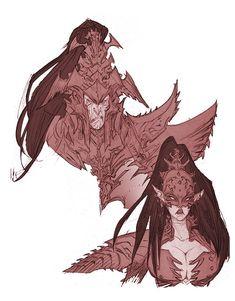 Opulence and disgust in equal measures. Character Concept, Character Art, Concept Art, Character Design, Warhammer Dark Elves, Warhammer Fantasy, Warhammer 40k, Dark Eldar, Final Fantasy Art