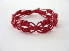 PATTERN Red Lacy Macrame Knotted Bracelet by Knotonlyknots on Etsy, $3.99